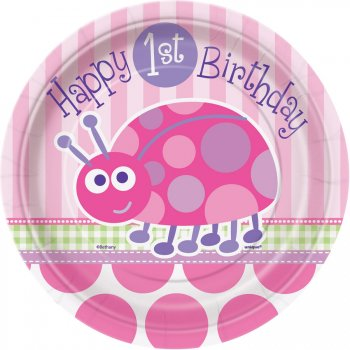 8 Petites Assiettes First Birthday Coccinelle Rose