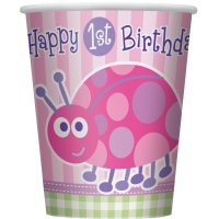 Contient : 1 x 8 Gobelets First Birthday Coccinelle Rose
