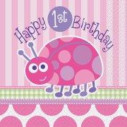 16 Serviettes First Birthday Coccinelle Rose
