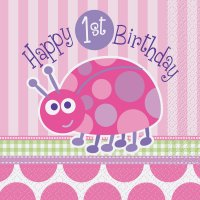 Contient : 1 x 16 Serviettes First Birthday Coccinelle Rose