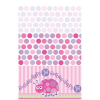 Contient : 1 x Nappe plastique First Birthday Coccinelle Rose