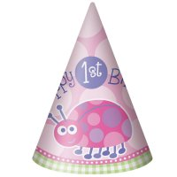 Contient : 1 x 8 Chapeaux First Birthday Coccinelle Rose