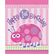 8 Pochettes � Cadeaux First Birthday Coccinelle Rose