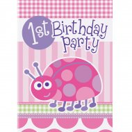 8 Invitations First Birthday Coccinelle Rose