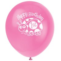 Contient : 1 x 8 Ballons First Birthday Coccinelle