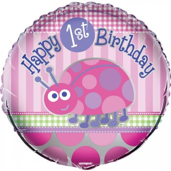 Ballon Mylar First Birthday Coccinelle Rose