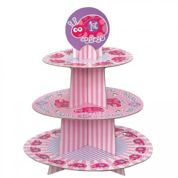 Présentoir à cupcakes First Birthday Coccinelle Rose