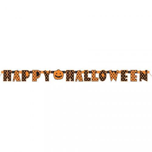 Guirlande Happy Halloween Pois et Citrouille