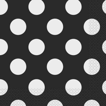 16 Serviettes à Pois Noir/Blanc
