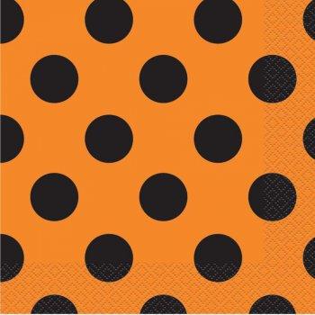 16 Serviettes à Pois Noir/Orange