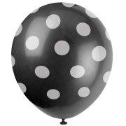 6 Ballons � Pois Noir/Blanc