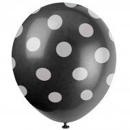 6 Ballons à Pois Noir/Blanc