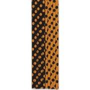 10 Pailles � Pois Noir/Orange