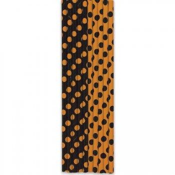 10 Pailles à Pois Noir/Orange