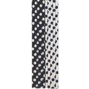 10 Pailles � Pois Noir/Blanc