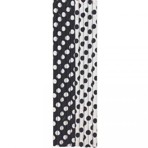 10 Pailles à Pois Noir/Blanc