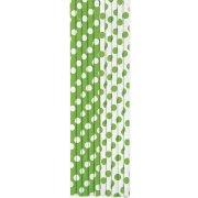 10 Pailles Papier à Pois Vert/Blanc