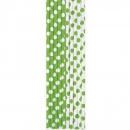 10 Pailles à Pois Vert/Blanc
