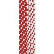 10 Pailles � Pois Rouge/Blanc