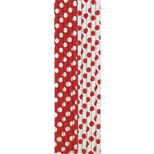 10 Pailles Papier à Pois Rouge/Blanc