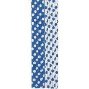 10 Pailles � Pois Bleu/Blanc