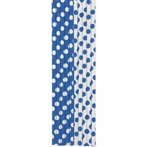 10 Pailles Papier à Pois Bleu/Blanc