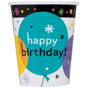 8 Gobelets Happy Birthay Ballons