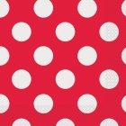 16 Serviettes à Pois Rouge/Blanc
