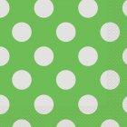 16 Serviettes � Pois Vert/Blanc