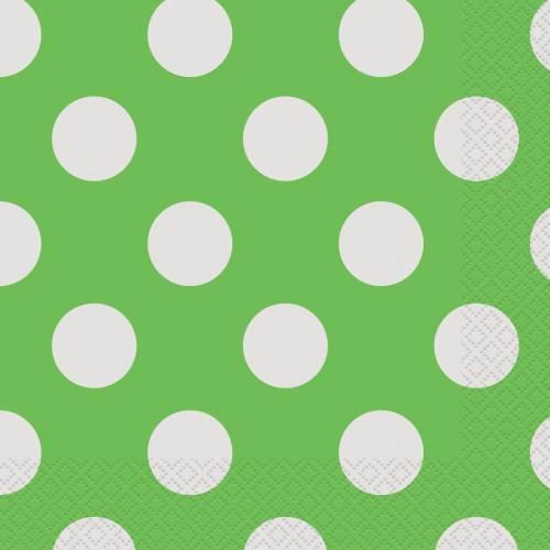 16 Serviettes à Pois Vert/Blanc