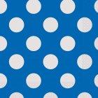 16 Serviettes à Pois Bleu/Blanc