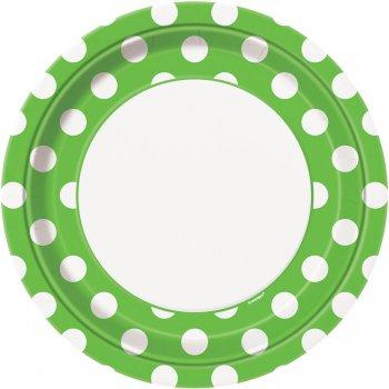8 Assiettes à Pois Vert/Blanc