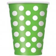 6 Gobelets à Pois Vert/Blanc