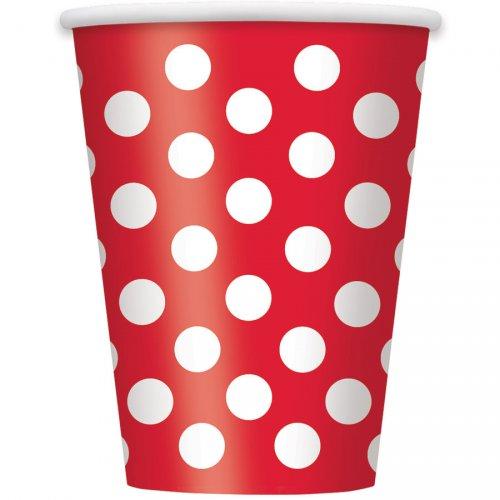 6 Gobelets à Pois Rouge/Blanc