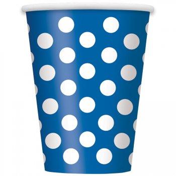 6 Gobelets à Pois Bleu/Blanc