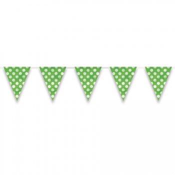 Guirlande Fanions à Pois Vert/Blanc