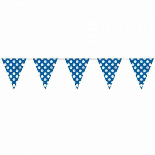 Guirlande Fanions à Pois Bleu/Blanc