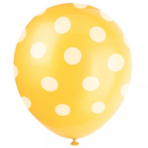 6 Ballons à Pois Jaune/Blanc