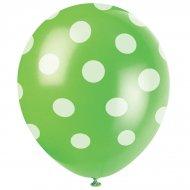 6 Ballons � Pois Vert/Blanc
