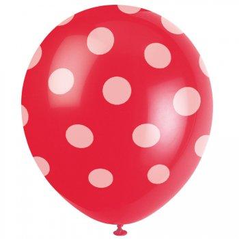 6 Ballons à Pois Rouge/Blanc