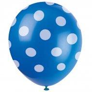 6 Ballons � Pois Bleu/Blanc