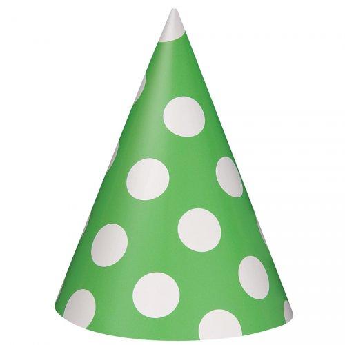 8 Chapeaux à Pois Vert/Blanc