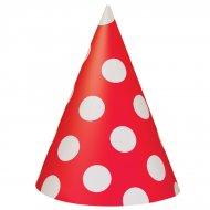 8 Chapeaux à Pois Rouge/Blanc