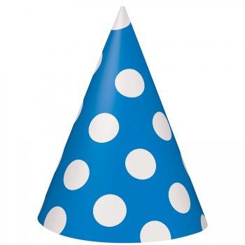 8 Chapeaux à Pois Bleu/Blanc
