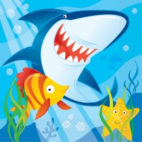 Contient : 1 x 16 Serviettes Requin et ses amis