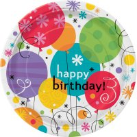 Contient : 1 x 8 Assiettes Happy Birthday Ballons