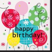 Contient : 1 x 16 Serviettes Happy Birthday Ballons