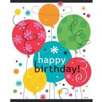 Contient : 1 x 8 Pochettes cadeaux Happy Birthday Ballons