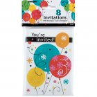 8 Invitation Happy Birthday Ballons