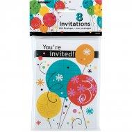 8 Invitation Happy Birthday Ballons